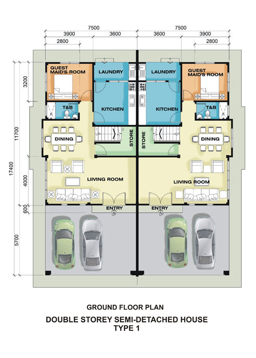 Brunei residential housing commercial projects semi for Double storey semi detached house floor plan
